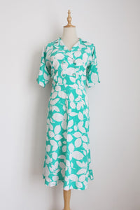 VINTAGE MINT WHITE LEAF PRINT DRESS - SIZE 12