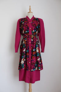 VINTAGE MAROON PRINTED OVERLAY DRESS - SIZE 12