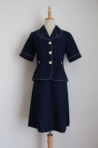 VINTAGE NAVY CONTRAST STITCH TWO PIECE - SIZE 10
