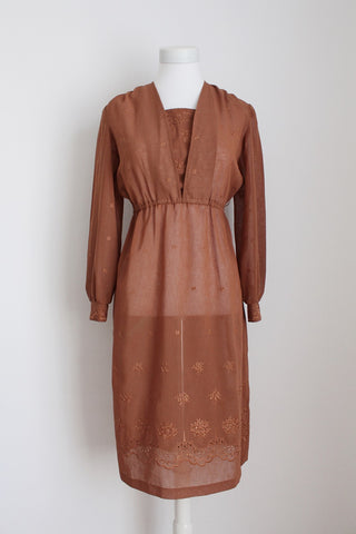 VINTAGE BROWN EMBROIDERY LONG SLEEVE DRESS - SIZE 6
