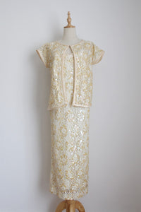 VINTAGE SEQUINED CREAM DRESS TOP TWO PIECE - SIZE 12
