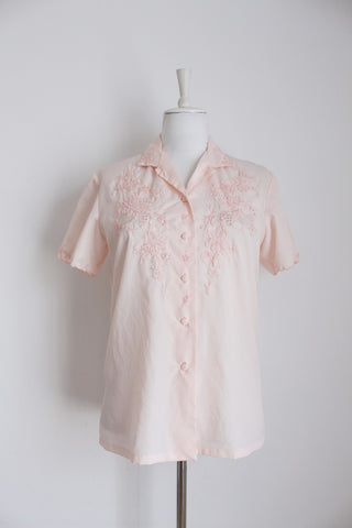 VINTAGE PINK EMBROIDERY CHINESE BLOUSE - SIZE 12