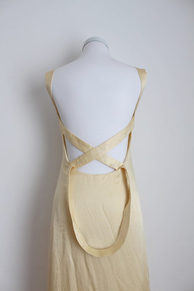 *100% SILK* VINTAGE CRISS CROSS BACK GOWN DRESS - SIZE 8