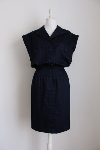 KARL LAGERFELD DESIGNER NAVY DRESS - SIZE 10