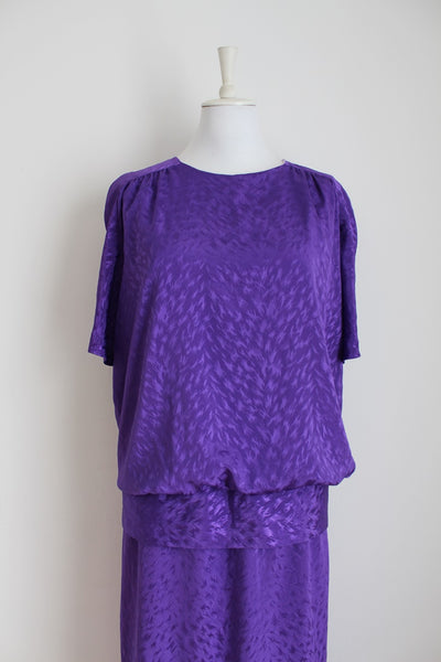 VINTAGE PURPLE DROP WAIST COCKTAIL DRESS - SIZE 16