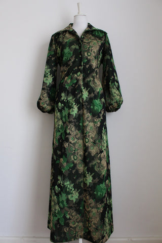VINTAGE GREEN GOLD BROCADE MAXI DRESS - SIZE 14
