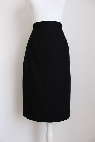 100% WOOL BLACK FITTED PENCIL SKIRT - SIZE 8