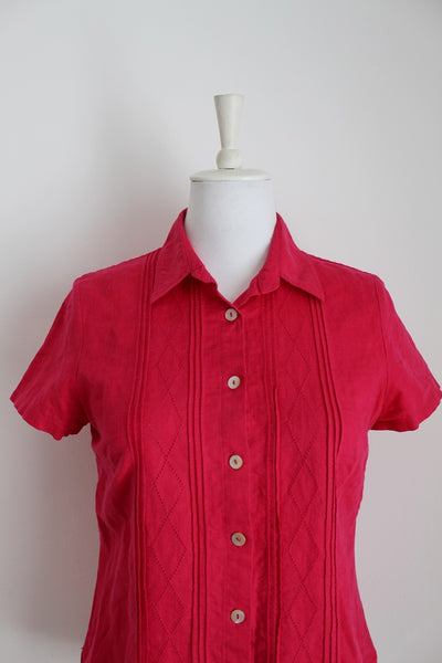*PRINGLE* DESIGNER LINEN HOT PINK SHIRT - SIZE 10