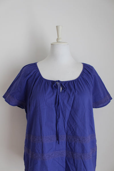 *ESPRIT* BLUE TIE NECK TUNIC TOP - SIZE 10