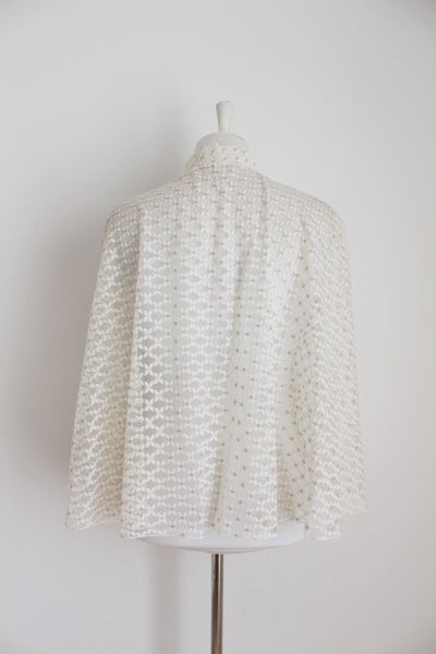 VINTAGE SHEER LACE WHITE CAPE TOP - SIZE S/M
