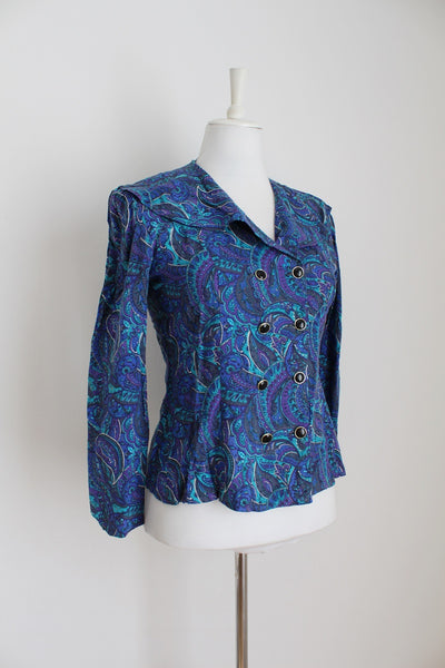 VINTAGE PAISEY PRINT BLUE DOUBLE BREASTED BLOUSE - SIZE 8