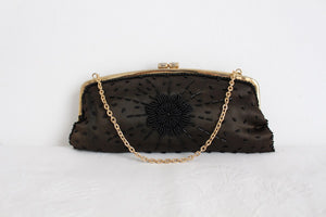 VINTAGE BEADED BLACK SATIN EVENING PURSE