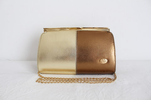 VINTAGE GOLD FAUX LEATHER CHAIN CLUTCH