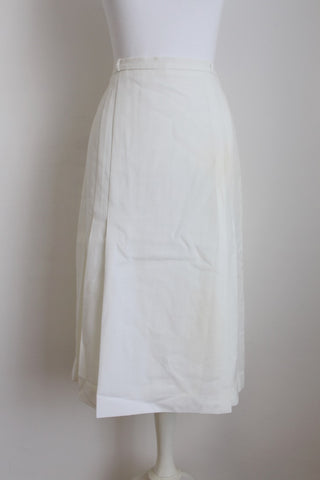 VINTAGE PLEATED HIGH WAIST WHITE SKIRT - SIZE 6