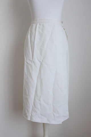 VINTAGE WRAP STYLE WHITE HIGH WAIST SKIRT - SIZE SMALL