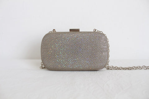 EXPRESSIONS NYC SILVER METAL MESH BOX BAG
