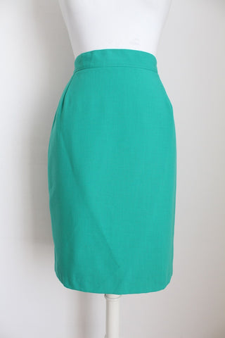 VINTAGE TURQUOISE PENCIL FITTED SKIRT - SIZE 12