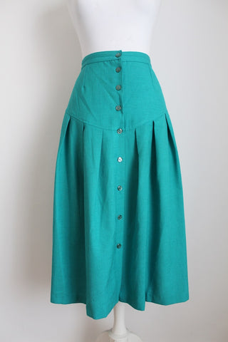 VINTAGE GREEN BUTTON DOWN HIGH WAIST SKIRT - SIZE 12
