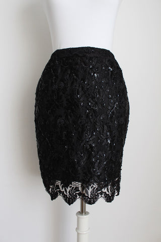 VINTAGE BLACK LACE SEQUINED FITTED SKIRT - SIZE 6