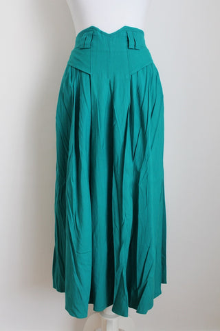 VINTAGE GREEN PLEATED HIGH WAIST SKIRT - SIZE 12
