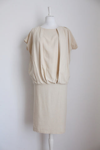 VINTAGE SILK BEIGE DROP WAIST DRESS - SIZE 6