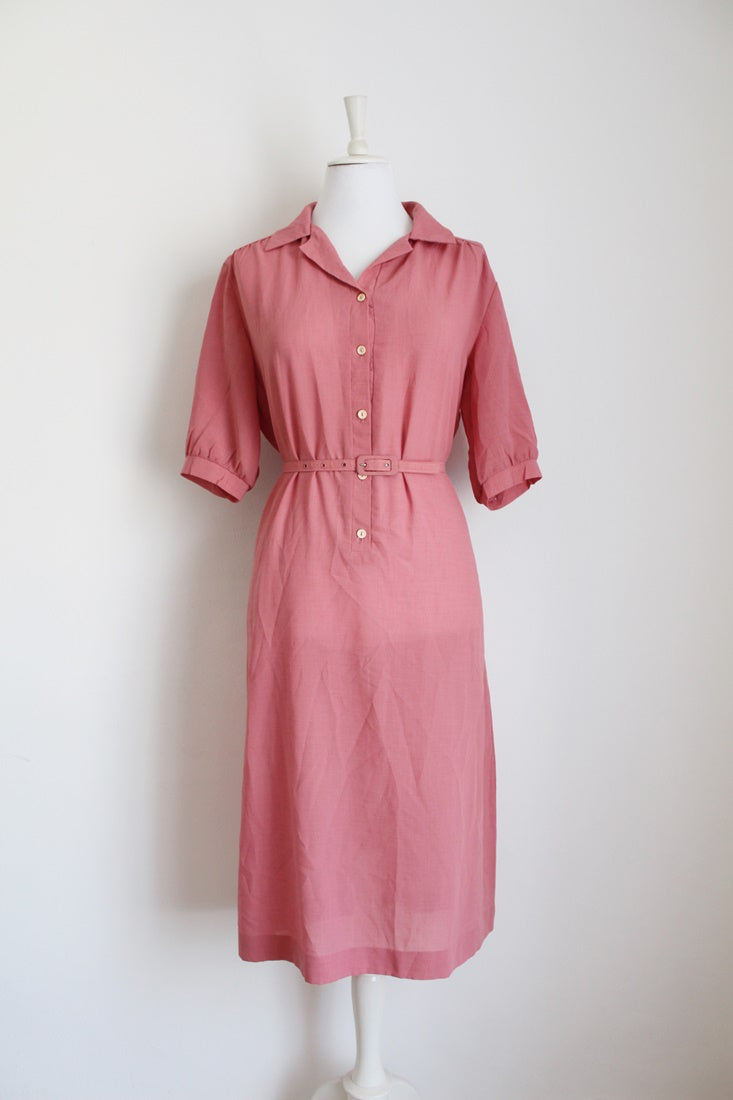 VINTAGE PINK BELTED DAY DRESS - SIZE 14
