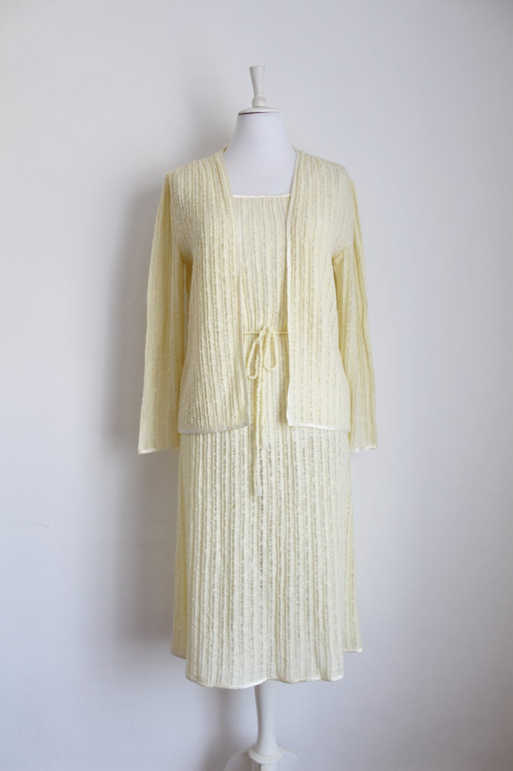VINTAGE TWO PIECE KNITTED DRESS JERSEY SET - SIZE 14