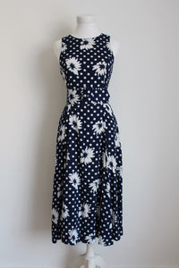 VINTAGE POLKA DOT NAVY WHITE BELTED SUMMER DRESS - SIZE 8