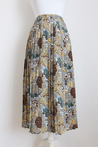 VINTAGE FLORAL PRINT BROWN PLEATED SKIRT - SIZE M/L
