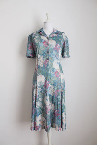 VINTAGE PASTEL GREEN PINK FLORAL PRINT DAY DRESS - SIZE 16