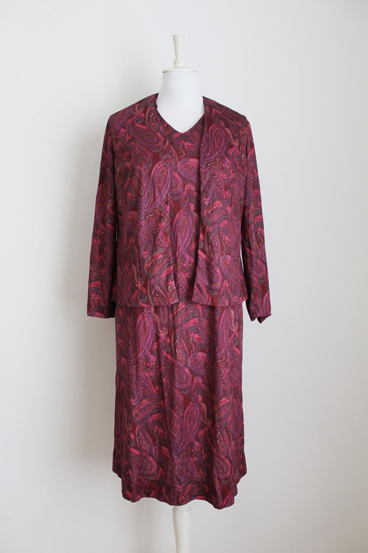 VINTAGE TWO PIECE MAROON PAISLEY PRINT DRESS TOP SET - SIZE 14