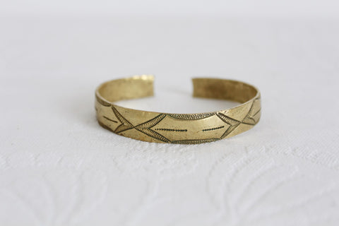 VINTAGE ENGRAVED BRASS CUFF BANGLE