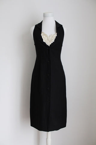 VINTAGE BLACK LACE BUTTON DOWN LINEN DRESS - SIZE 6