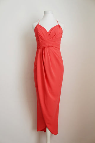 FOREVER NEW CORAL RUCHED COCKTAIL DRESS - SIZE 8