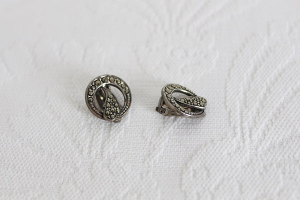 VINTAGE MARCASITE SILVER TONE CLIP-ON EARRINGS