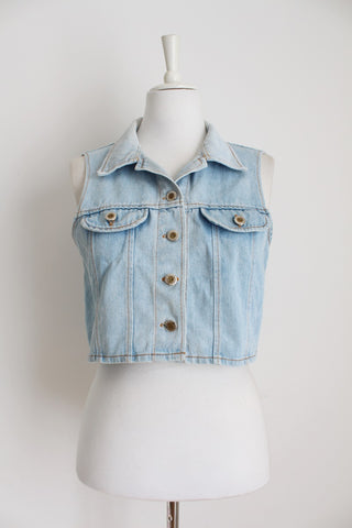 VINTAGE BLEACHED DENIM CROPPED WAISTCOAT - SIZE M