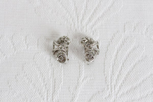 VINTAGE MARCASITE SILVER TONE LEAF MOTIF CLIP-ON EARRINGS