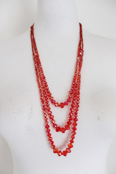VINTAGE RED GLASS THREE STRAND COSTUME NECKLACE