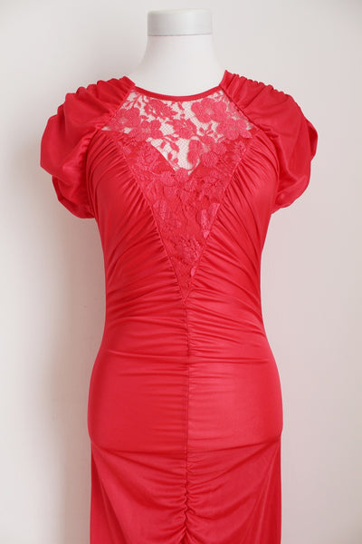 VINTAGE RED LACE MERMAID COCKTAIL DRESS - SIZE 6