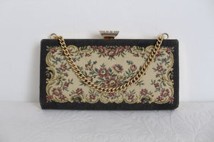 VINTAGE FLORAL TAPESTRY EVENING CLUTCH BAG