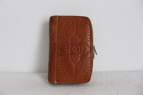 VINTAGE TOOLED FLORAL GENUINE LEATHER ORGANISER WALLET