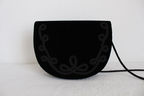 VINTAGE VELVET APPLIQUE BLACK SLING