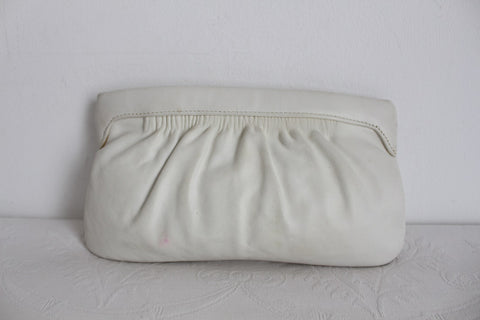VINTAGE GENUINE LEATHER WHITE CLUTCH BAG PURSE