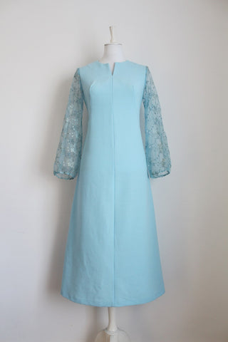 VINTAGE PASTEL BLUE LACE SLEEVES DRESS - SIZE 10