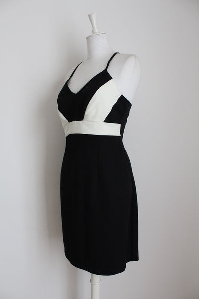 MONSOON BLACK WHITE CROSS BACK DRESS - SIZE 12