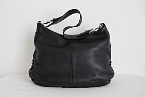 *PIERRE CARDIN* ITALIAN GENUINE LEATHER BLACK HOBO HANDBAG