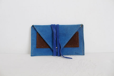 GENUINE LEATHER BLUE SUEDE PURSE