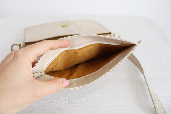 VINTAGE GENUINE LEATHER BEIGE MESSENGER SLING BAG