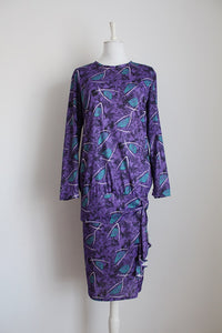 VINTAGE PURPLE ABSTRACT PRINT DROP WAIST DRESS - SIZE 14