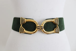 VINTAGE SUEDE LEATHER GREEN WAIST BELT